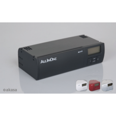 Akasa All-in-One Red: Fan Control. USB. FW. Audio. S-ATA. LCD